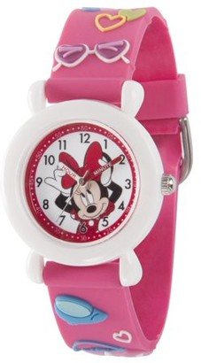 Disney Minnie Mouse Girls' White Plastic Time Teacher Watch, Pink 3D Plastic Strap