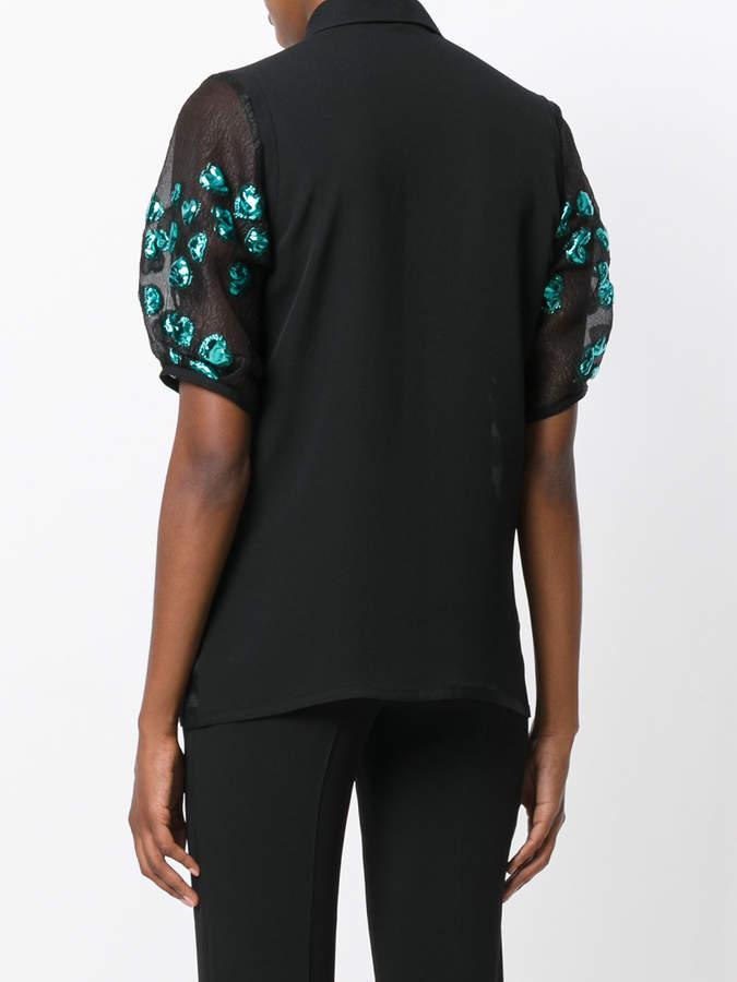 Elie Saab flower embellished sheer blouse