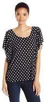 Star Vixen Women's Angel Sleeve Top, Black/White Dot