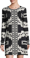 Julie Brown Morgan Geometric-Print Sheath Dress, Black