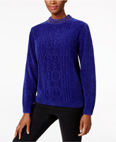 Alfred Dunner Beaded-Neck Chenille Sweater