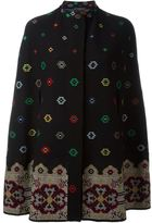 Alexander McQueen floral cross stitch cape - women - Silk/Polyamide/Polyester/Wool - L