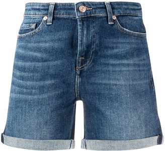 7 For All Mankind Rolled Hem Denim Shorts