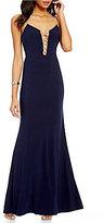 Jump Embellished Lace-Up Neckline Long Dress