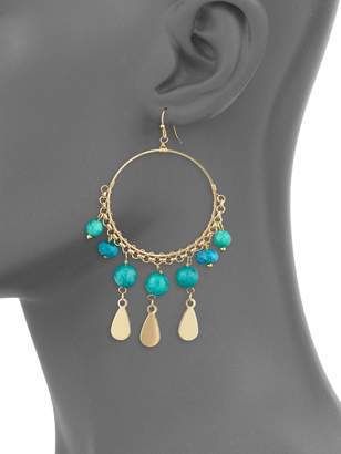 Panacea Goldtone Beaded Teardrop Earrings