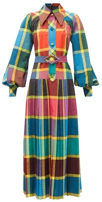 Gucci Madras-check Pleated Cotton Fil-a-fil Shirt Dress - Yellow Multi