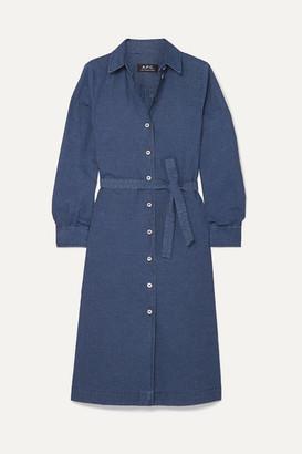 A.P.C. Karen Striped Cotton Midi Dress - Blue