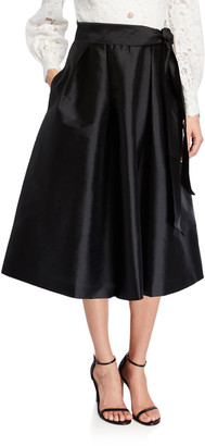 Rickie Freeman For Teri Jon Lace-Bodice Long-Sleeve Dress w/ Taffeta Skirt