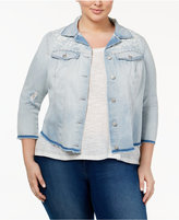 Jessica Simpson Trendy Plus Size Embroidered Denim Jacket
