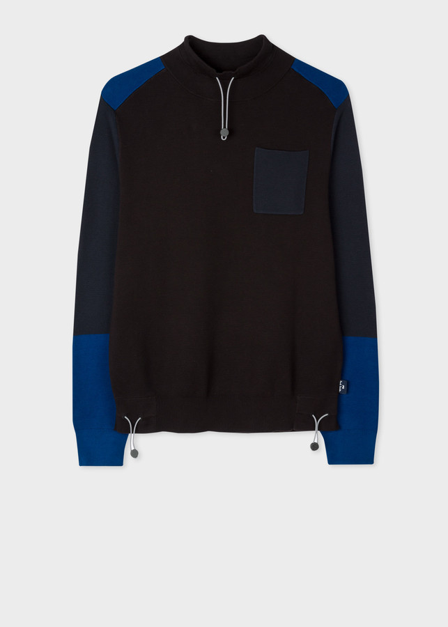 Paul Smith Men's Contrast Panel Funnel-Neck Cotton Sweater