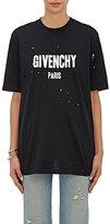 Givenchy Women's Logo-Print Cotton Distressed T-Shirt-BLACK