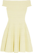 Alexander McQueen Off-the-shoulder Knitted Mini Dress - Pastel yellow