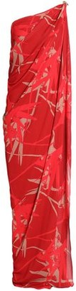 Halston One-shoulder Draped Printed Crepe Gown