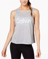 Calvin Klein Racing-Stripe Cropped Tank Top