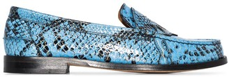 Ganni Snake-Print Patent-Leather Loafers