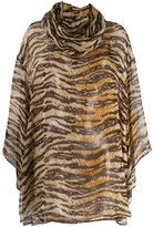 Dolce & Gabbana Pre Owned 1990's tiger print sheer blouse