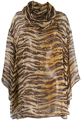 Dolce & Gabbana Pre-Owned 1990's tiger print sheer blouse
