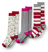 Lands' End Girls Pattern Knee High Socks (3-pack)-Rich Red Candy Cane