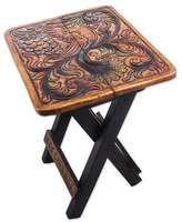 Square Bird Motif Wood and Leather Folding Stool from Peru, 'Square Paradise Bird'