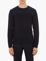 Valentino Navy Ribbed Wool Sweater