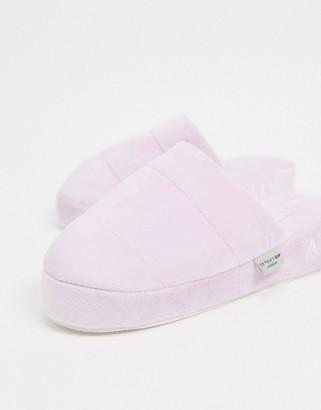 Skinnydip Always Tired fluffy slippers in purple