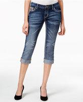 Ariya Juniors' Curvy Embellished Dark Wash Crop Jeans