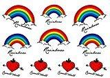 Set of 2 Waterproof Temporary Fake Tattoo Stickers Multi Color Rainbow Design Kids Child