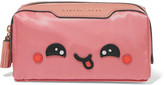 Anya Hindmarch Girlie Stuff Kawaii Leather-trimmed Cosmetics Case - Antique rose