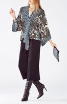 BCBGMAXAZRIA Adira Fluttering Doves Print Kimono Wrap Top
