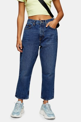 Topshop Womens Petite Blue Editor Jeans - Mid Stone