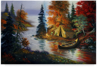 "Rusty Trademark Fine Art ""Tent Canoe"" by D. Rust, Canvas Art"