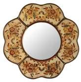 Hand Made Reverse Painted Glass Mirror from Peru, 'Iridescent Cajamarca Blossom'