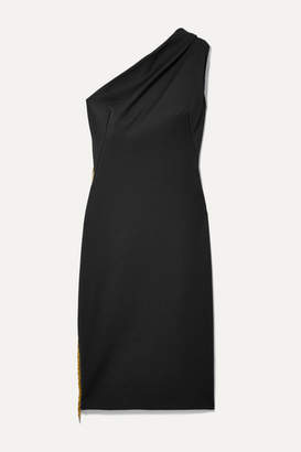 HANEY Mila One-shoulder Fringed Cady Dress - Black
