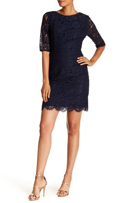 Sharagano Lace Elbow Sleeve Sheath Dress