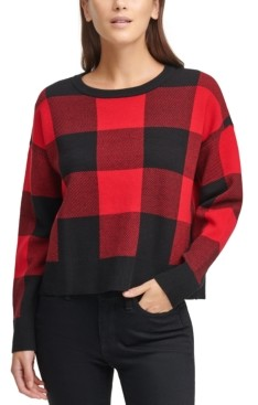 DKNY Plaid Crewneck Sweater