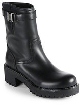 Prada Leather Buckle Mid-Calf Boots