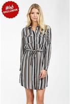 Select Fashion Fashion Womens Brown Stripe Utility Shirt Dress - size 6
