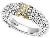 Lagos 'X' Diamond & Caviar TM ' Two Tone Ring