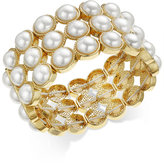 Charter Club Gold-Tone Imitation Pearl Stretch Bracelet, Only at Macy's
