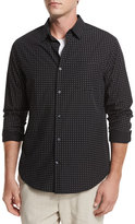 Vince Dot-Print Woven Oxford Shirt, Black