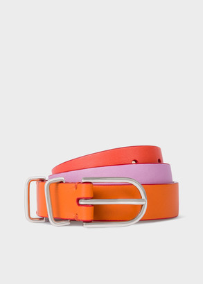 Paul Smith Women's Orange Colour-Block Leather Belt
