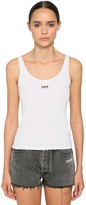 Off-White Off White Logo Cotton Blend Jersey Tank Top