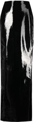 David Koma Side Cut-Out Leather Skirt