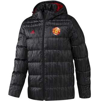 adidas Mens MUFC Manchester United Down Padded Jacket Black/Real Red
