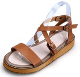 Hughes&Ross Leather Roman Gladiator Flat Fisherman Sandals Strap Buckle Ankle Summer Beach Shoes for Women (US 12, )