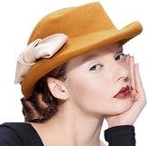 Supergirl Women's Wool Fedora Hat Cap Vintage Homborg Flat Top British Style Hat