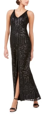Night Way Nightway Geo-Sequined Gown