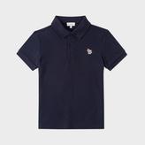 Paul Smith Boys' 7+ Years Navy Cotton-Piqué Zebra-Logo Polo Shirt