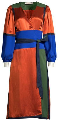 Tory Burch Colorblock Silk Wrap Dress