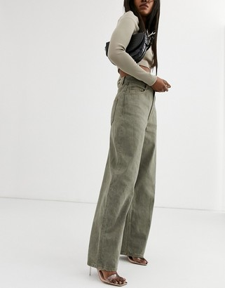 ASOS DESIGN High rise 'Relaxed' dad jeans in khaki